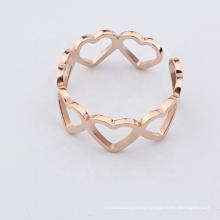 Stainless Steel Rose Gold Heart Shape Finger Adjustable Ring Jewelry Anillo De Bodas