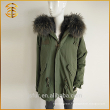Vente en gros Manteau à capuche coloré Raccoon Real Women Winter Fur Parka