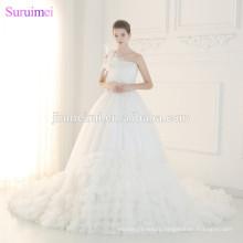 Wedding Dress Vestido De Noiva Princesa 2017 Gorgeous One Shoulder Corset Lace Up Wedding Dresses with Flowers Bride Dress