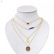 Newest Jewelry Designs in 3 10 12 Grams Layer Disk Gold Necklace