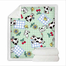 Super Soft Throws and Blanket Bedding Set for Camping with 3D Digital Printing Cow