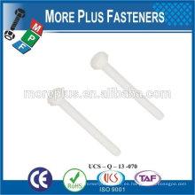 Hecho en Taiwán Alta calidad Rose Blanco Color Tornillo Nylon Material plástico Hex Head Bolt