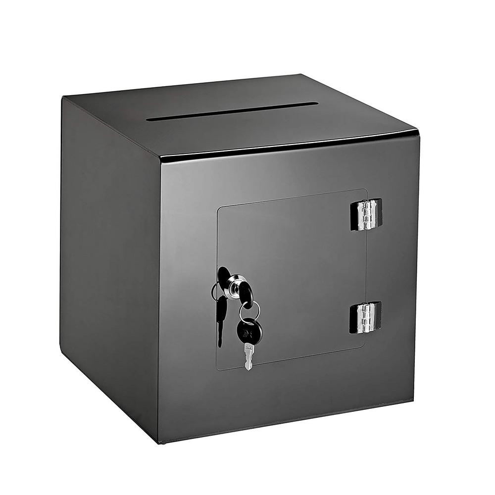 Acrylic Suggestion Box With Lock Black