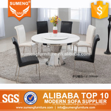 newest design white round marble top dining table set
