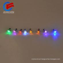Venda quente de liga de metal de cristal de diamante LED de iluminação da orelha do parafuso prisioneiro bar itens do partido brilho colorido piscando brinco