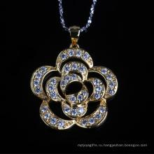 Красивый Цветок Форму Кубического Циркония Мода Серебряное Ожерелье Ювелирных Изделий
