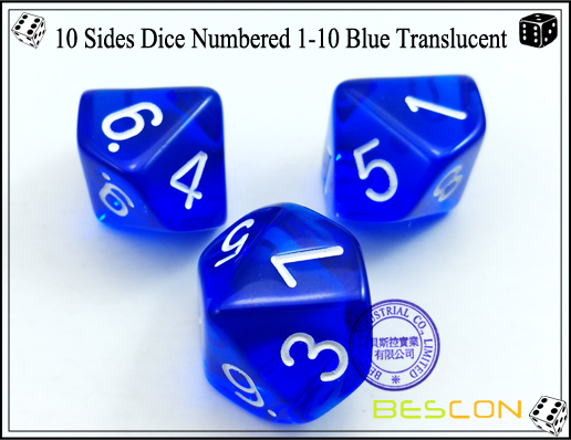 10 Sides Dice Numbered 1-10 Blue Translucent-3