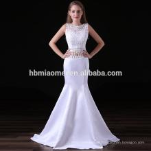 2017 neue Mode Meerjungfrau Abendkleid weiße Farbe geschnürt Brautjungfer Kleider Südafrika mit kleinen Schwanz