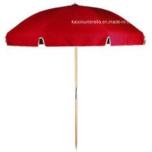 Red Color Sun Screen Poignée en bois Beach Umbrella