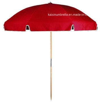 Красный цвет Солнечный экран Деревянный зонтик Пляжный зонтик