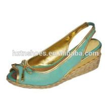 Поверхность льна peep-toe смычок сандалии удобная охрана окружающей среды клинья женская обувь