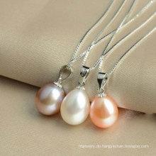 925 Sterling Silber Tropfen Süßwasser Perle Anhänger, Perle Schmuck