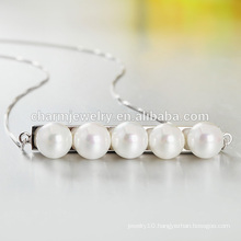Rectangle Five Pearl 925 Silver Necklace Hot Selling In Western Country Wholesale 2016 SCR028