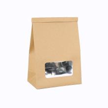 Window Aluminum Bread Kraft Paper Packaging Bag Food Paper Bag Square Bottom
