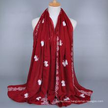 2017 wholesale butterfly hangzhou fashion cotton muslim hijab embroidered cotton scarf shawl