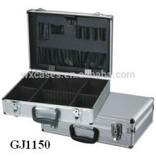 forte & portátil alumínio ferramenta caso com rebatível ferramenta pálete e compartimentos ajustáveis dentro