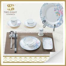 Ensemble de vaisselle en céramique bleu et blanc en porcelaine