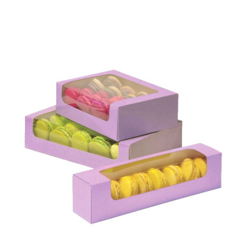 Custom Print Luxury Macarons Box Dengan Clear Window