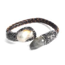 Moda jóias de couro pulseira de pedras preciosas para Lady Girl