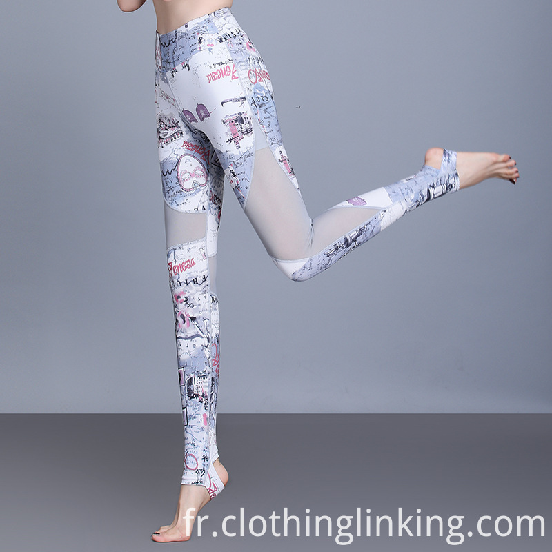 Mesh hollow out Yoga pant with print