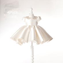 Шампанское атласная бисероплетение платье девушки цветка для свадьбы