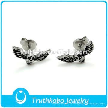TKB-E0075 Personalidad Anillo de oreja joyería Biker con alas Skull Head Stud Earring para hombres