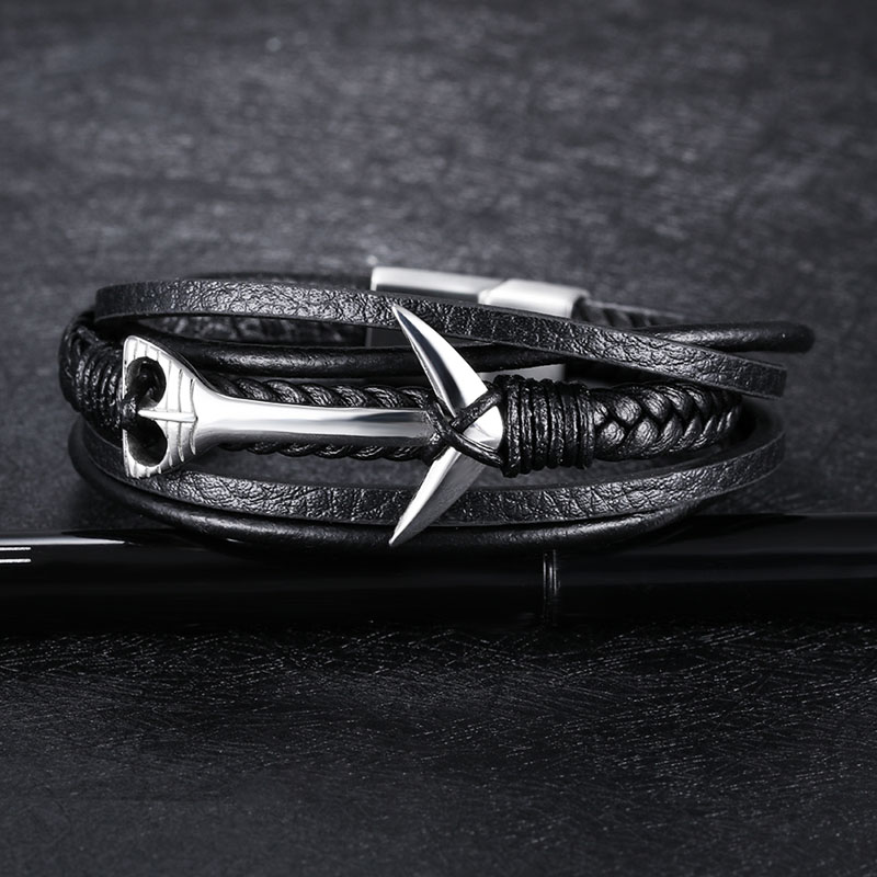 Black Leather Anchor Bracelet