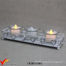 White Metal Vintage Tea Light Holders with Crystal Love Hearts