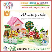 Hot Sale Educational Toy Kids Farm Set, Happy Ensemble de ferme en bois 3D pour enfants