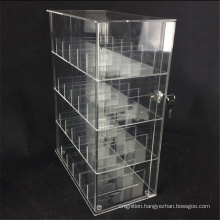Lockable 6 Tier Clear Shelf Acrylic Contact Lenses Display Showcase for Retail Shop