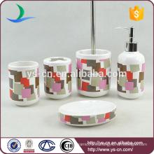 Cilíndrico de cerámica de colores caja de cepillo de dientes de baño