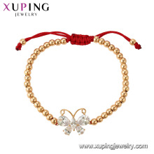 75355 Xuping hot sales popular 18k gold plated beads bracelet with butterfly charm