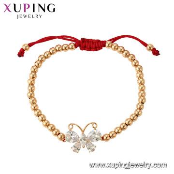 75355 Xuping hot sales popular 18k banhado a ouro pulseira de miçangas com charme de borboleta