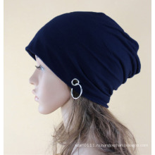 Мода металлическое кольцо хлопок трикотажные зима теплая лыж Hat (YKY3127)