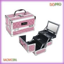 Boîtier organisateur de maquillage de petite taille diamant rose ABS avec miroir (SACMC091)