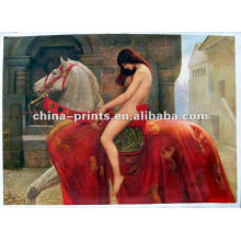 Pintura al óleo desnuda atractiva pintada a mano de la muchacha