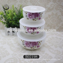 Ensemble de cuvette en céramique populaire avec couvercle, bol en céramique frais avec couvercle en plastique, bol avec design
