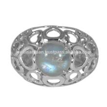 Красивый Радужный Лунный Камень Драгоценный Камень 925 Серебряное Кольцо