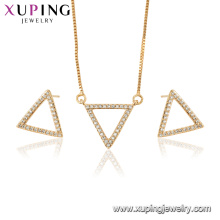 64841 xuping fashion design 18k gold plated triangle pendant jewelry set
