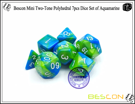 Bescon Mini Two-Tone Polyhedral 7pcs Dice Set of Aquamarine-5