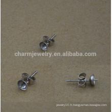 BXG029 Accessoires en boucles d'oreilles en acier inoxydable, pads et dos en acier inoxydable, découvertes de bijoux hypoallergéniques