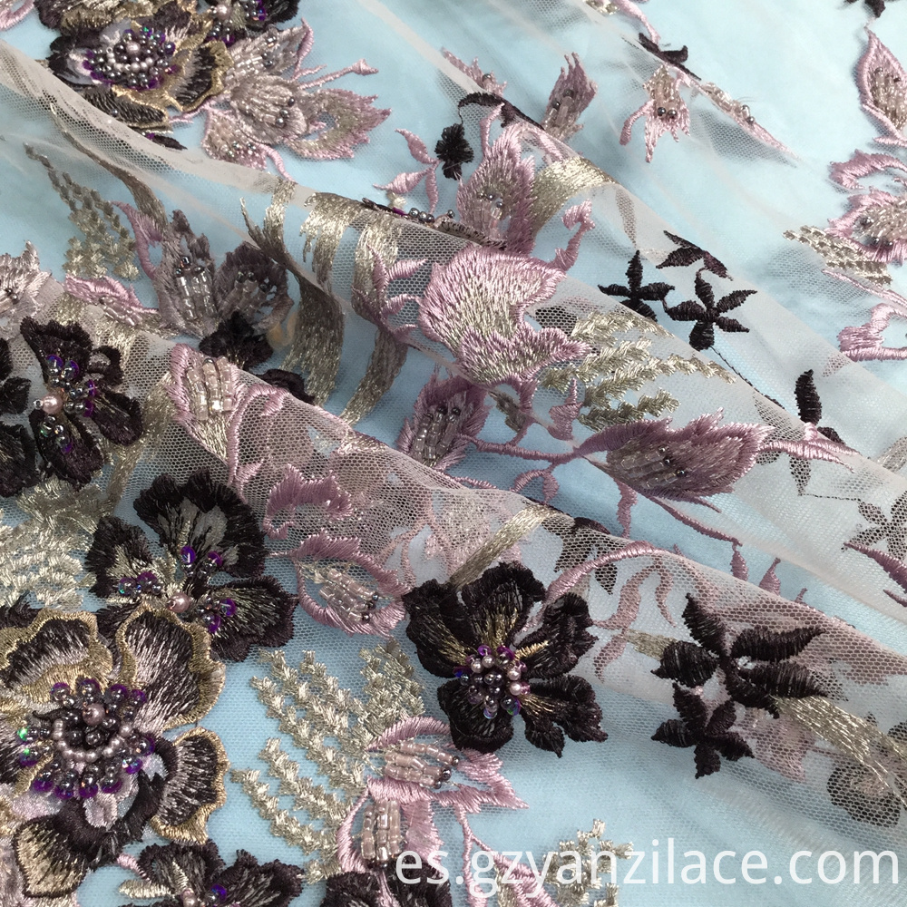 Dark Purple Beaded Lace Fabric