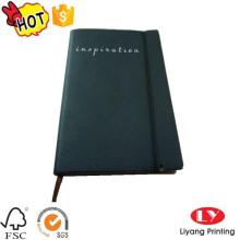 Caderno de couro em relevo com impressão elática