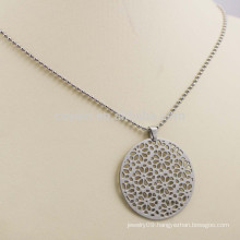Hollow Out Flower Pattern Silver Plated Metal Round Pendant Necklace