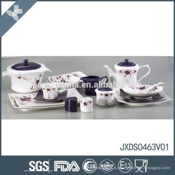 Фарфоровая оптика 63pcs sqaure цветок деколь испанская керамическая посуда