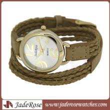 Leather Strap Gold Plating Case Ladies Quartz Watch