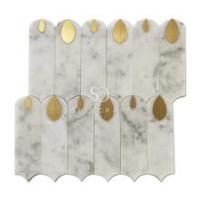 Soulscrafts Bianco Carrara Mixed Brass White Water Jet Marble Mosaic Tile