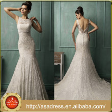 AMS02 Long Crystal Beaded Bridal Gowns Mermaid Lace Open Back China Factory Wedding Dress