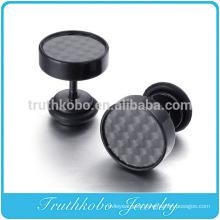 TKB-E0062 Black Carbon Fiber 316L Stainless Steel Screw Stud Earrings Pair