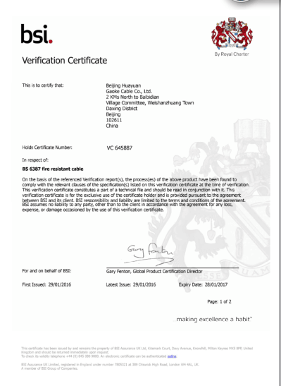 BSI Certificate for Fire Resistant and BS6387-2013